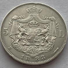 5 Lei 1883 Argint, Romania XF, varianta Kullrich pe 6,5 mm