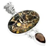 Cumpara ieftin Pandantiv bijuterie din argint 925 cu turritella agat si cuart fumuriu