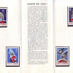 1966 Romania, Cosmonautica I LP 632, pliant filatelic de prezentare