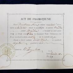 ACT DE PROMOTIUNE , ELIBERAT DE GIMNAZIUL TUDOR VLADIMIRESCU DIN BUZAU , ELEVULUI TITUS DEMETRESCU , EMIS LA 30 IUNIE 1882