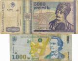 Romania (11) - 5000 Lei 1993, 1000 Lei 1998 Filigran mare