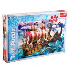 Puzzle copii Trefl, 100 piese, model pirati