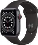Smartwatch Apple Watch 6, GPS+Cellular, 44mm, Black Sport Band, Aluminiu, Negru