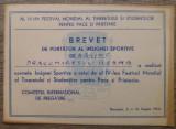 Brevet de purtator al insignei sportive de argint/ 1953