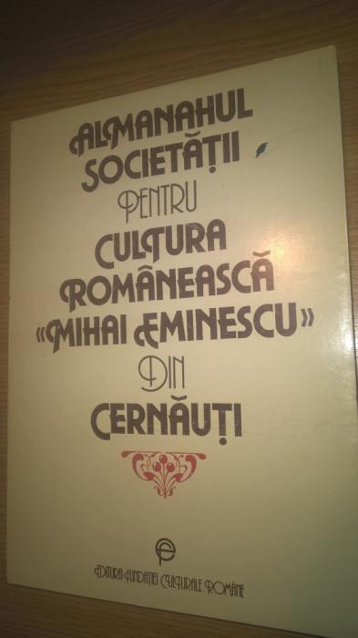 """Almanahul Societatii pentru cultura romaneasca """"Mihai Eminescu"""" din Cernauti"""