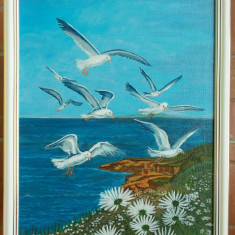 """Tablou """"Pescarusi la tarm"""" in culori acrilice 32X26 cm, rama lemn alba"""