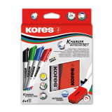 Marker Whiteboard Kores 3 mm Varf Rotund + Cu Burete Margnetic Kores - Set 4 Culori