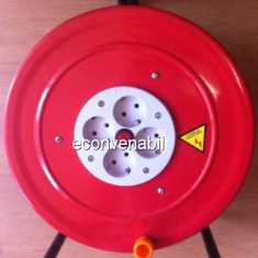 Prelungitor Tambur Metalic cu Rola Cablu Electric 25m 4 Posturi