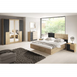 Set dormitor, stejar artizanal pin negru norvegian, BAFRA