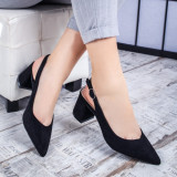 Pantofi dama cu toc negri Padita -rl
