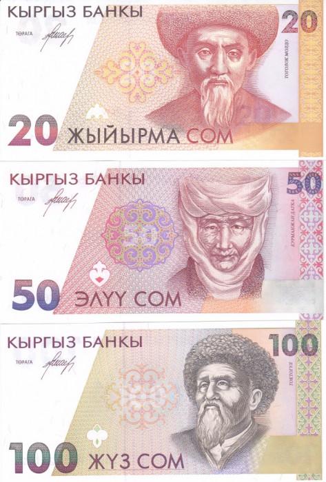 Bancnota Kyrgyzstan 20, 50 si 100 Som (1994) - P10-12 UNC ( set x3 )