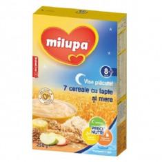 Cereale Milupa Vise Placute - 7 cereale cu lapte si mere, 250g
