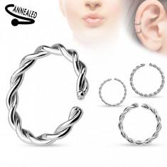Piercing pentru nas sau ureche, oțel chirurgical, cerc spirală răsucită - Grosime x diametru: 1,2 mm x 10 mm