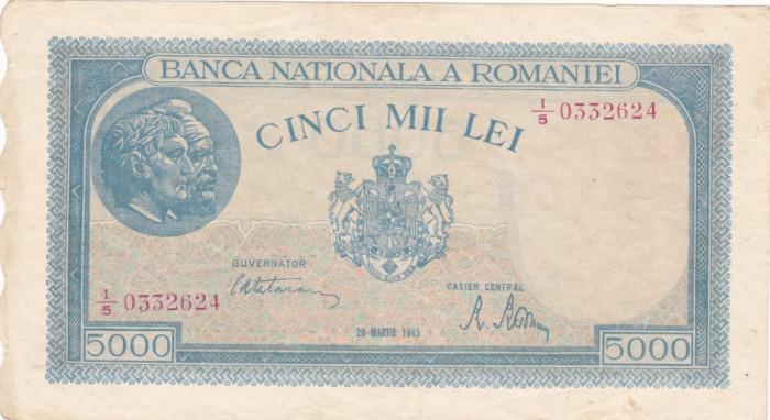 ROMANIA 5000 LEI MARTIE 1945 F
