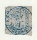 ROMANIA 1858 - CAP DE BOUR EMISIUNEA II 40 PARALE HARTIE AZURATA CIRCULAT