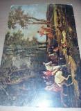 LITOGRAFIE VECHE,Tablou Canvas - Vânătoare de vulpi,Transp.GRATUIT