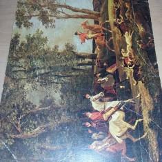 LITOGRAFIE VECHE,Tablou Canvas - Vânătoare de vulpi,Transp.GRATUIT, CONSTION, Peisaje, Cerneala