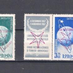 ROMANIA 1958-SATELITII ARTIFICIALI AI PAMANTULUI(SUPRATIP.RASTURNAT),MNH-LP.459b