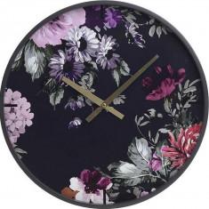 Ceas de perete lemn Flowers Black