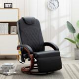 VidaXL Fotoliu de masaj rabatabil pentru TV, negru, piele ecologică