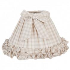 Abajur veioza textil crem carouri Ø 30x17 cm