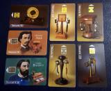 """Lot 7 cartele telefonice Franta cu tematica """"istoria telefonului"""""""