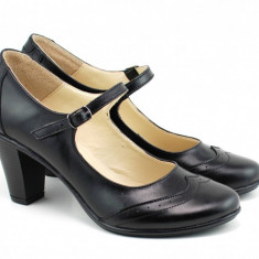 Pantofi dama eleganti din piele naturala cu toc de 7 cm - P104NBOX
