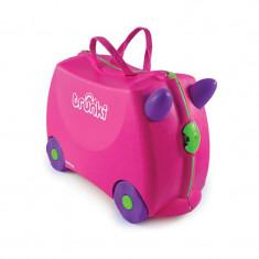 Valiza pentru copii Ride-On Trixie Trunki, Roz, 46 cm