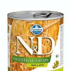 Hrana umeda pentru caini N&D, Ancestral Grain, Mistret si Mar, 285 gr