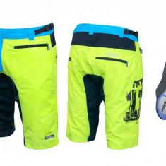 Pantaloni scurti Force MTB 11 cu interior detasabil galben fluo M