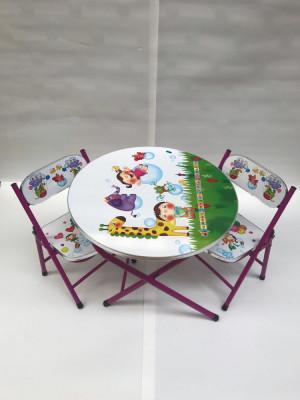 Masa cu doua scaune pliabile pentru copii,culoare alb foto