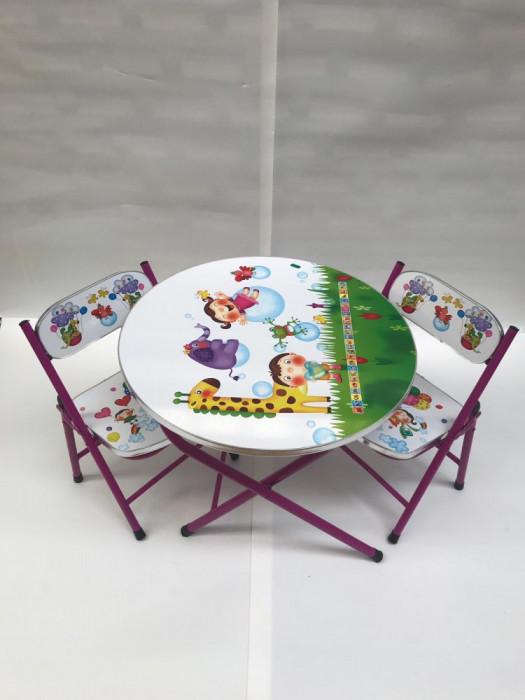 Masa cu doua scaune pliabile pentru copii,culoare alb