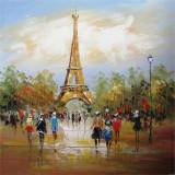 Turnul Eiffel- pictura in ulei OP-14, Peisaje, Realism