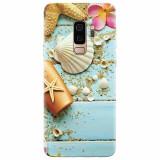 Husa silicon pentru Samsung S9 Plus, Blue Wood Seashells Sea Star