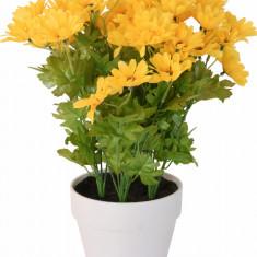 Crizanteme Galbena Artificiale in ghiveci Alb sunt rezistente la Umiditate Aspect natural pentru interior sau exterior D floare 37 cm D ghiveci 15 cm