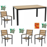 Set mobila gradina,terasa masa dreptunghiulara cadru aluminiu POLYWOOD NATURAL 150x90x74cm cu 4 scaune 60x57x89cm,4 perne , fata de masa B003015-95310