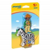 Figurina Padurar cu Zebra - 1.2.3, Playmobil