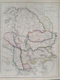 Harta a Europei de Sud-Est, tiparita in anul 1840