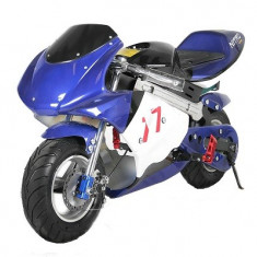 Mini Motocicleta electrica pentru copii NITRO Eco Pocket Bike 800W #Albastru