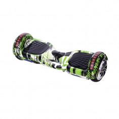 Hoverboard Bluetooth cu boxa HR, LED, 20 km/h, suporta maxim 120 kg, Verde/Negru