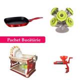 Pachet Bucătărie! Tigaie Grill Pătrată 28 cm + Organizator Condimente Pop-Up Spice Rack + Suport de Vase Etajat + Storcător de roșii