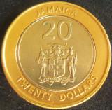 Moneda exotica - bimetal 20 DOLARI - JAMAICA, anul 2001 *cod 3320, America de Nord