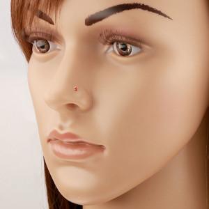 Piercing pentru nas din aur galben de 14K, drept - zirconiu rotund, roșu strălucitor, 1,5 mm