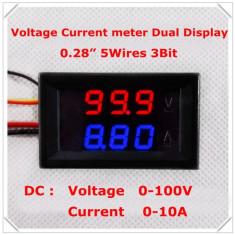 Voltmetru si Ampermetru digital 100 V 10 A rosu - albastru - shunt (sunt) inclus