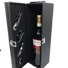 Cutie de Vin Black cu 4 Accesorii
