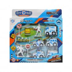 Set de jucarie pentru copii cu figurine si masinute de politie, 11 piese
