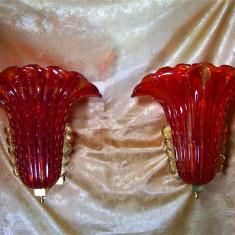 Set patru aplice Murano Rosso Oro, MCM, unicat, super deluxe, vintage