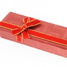 Cutie de cadou pentru lanț - roșie, fundă în două culori