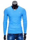Bluza pentru barbati din bumbac albastru casual slim fit E74