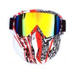 Masca protectie fata, plastic dur + ochelari ski, lentila multicolora, MCMFR01